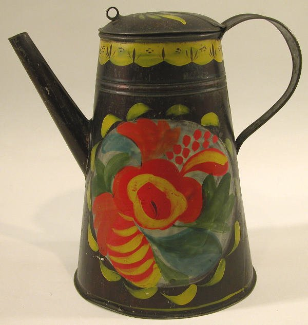 415: Black Toleware Coffee Pot.