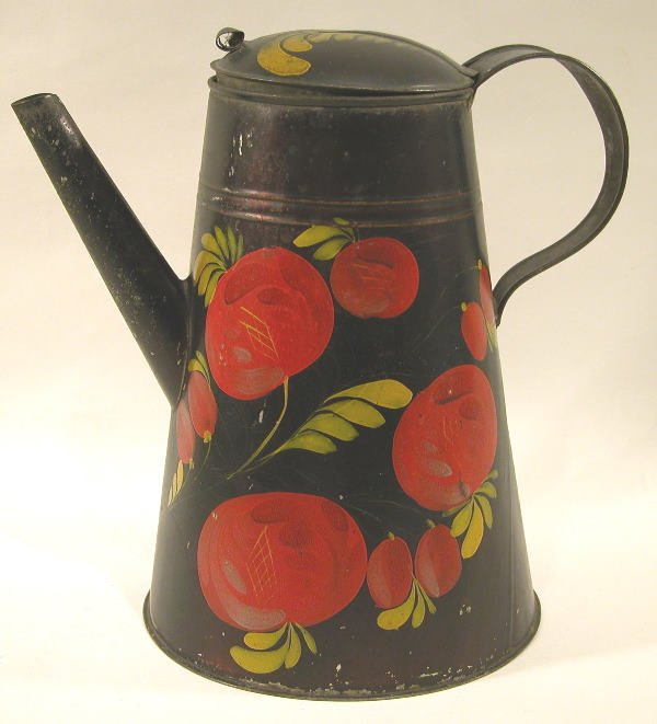 416: Black Toleware Coffeepot.