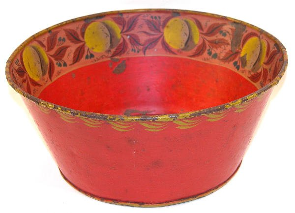 417: Red Toleware Basin.