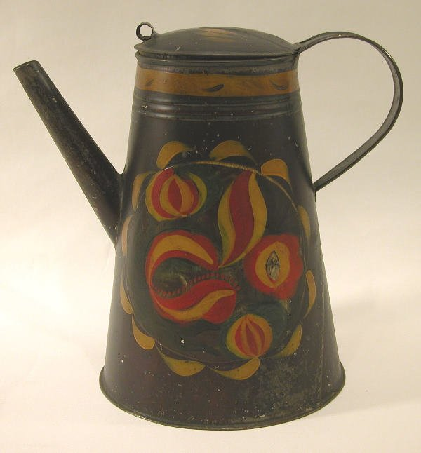418: Black Toleware Coffee Pot.