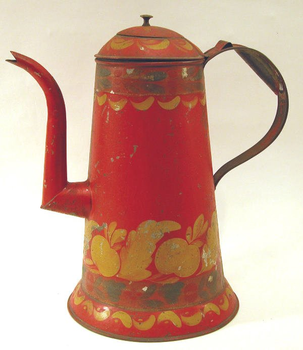 419: Red Toleware Coffeepot.