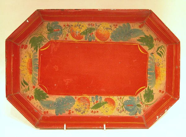 420: Red Toleware Octagonal Tray.