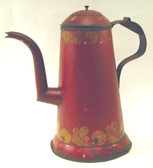 421: Red Toleware Coffeepot.