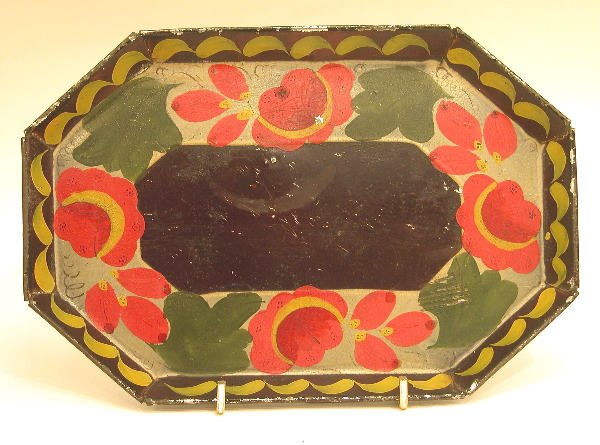 432: Black Toleware Octagon Tray.