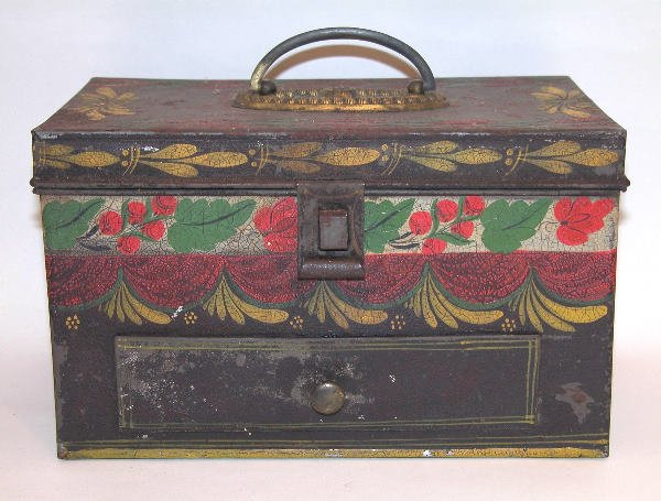 433: Black Toleware Painted Document Box with Single Dr