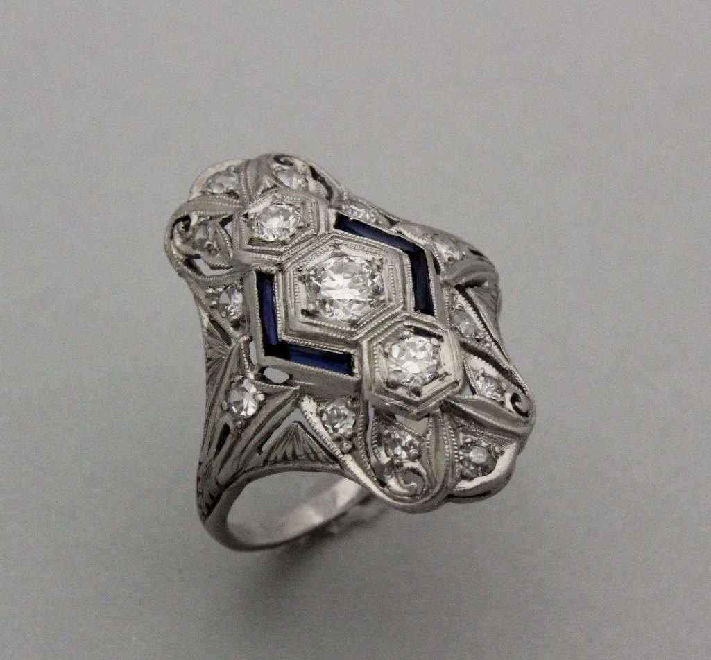 Platinum Ring with Diamond and Sapphire