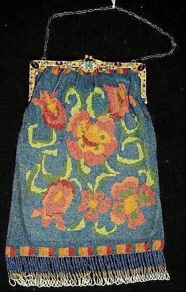 4012: Fine Glass Beaded Purse - Pre-1920