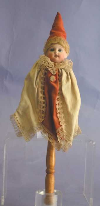 "7530: Antique Doll - 15"" Marotte, Bisque Head - 179n 4/"