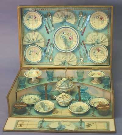 7533: Antique Child's French Tea Set for 4 - MIB -1889