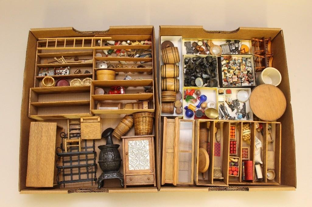 LARGE LOT OF VINTAGE MINIATURES FROM A DRY GOODS STORE.
