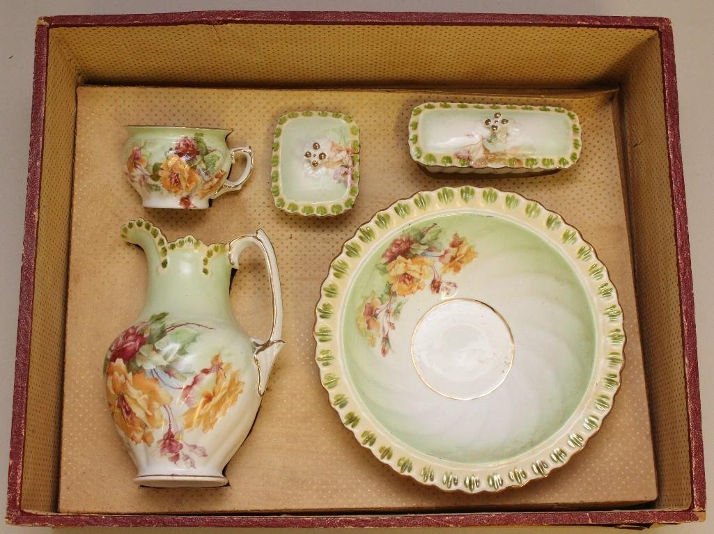 CHILD'S ANTIQUE  TOY CHINA WASH BOWL SET IN ORIGINAL
