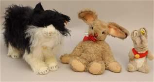 "LOT OF (3) STEIFF PLUSH ANIMALS: ""POSSY"" CAT, (2)"