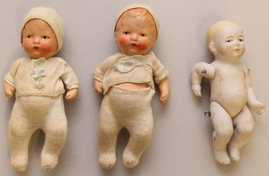 "LOT OF (6) ANTIQUE MINI BABY DOLLS INC. 4"" BYELO BABY - 4"