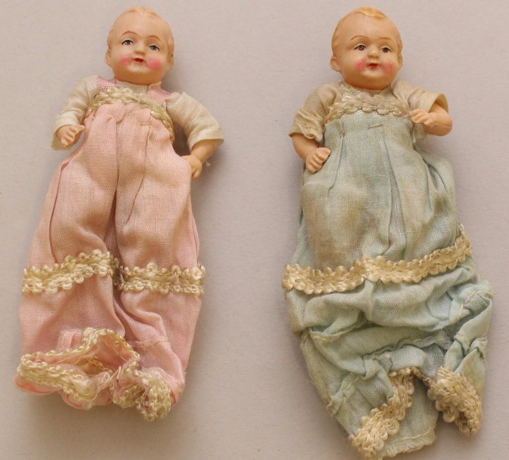 "LOT OF (6) ANTIQUE MINI BABY DOLLS INC. 4"" BYELO BABY - 5"