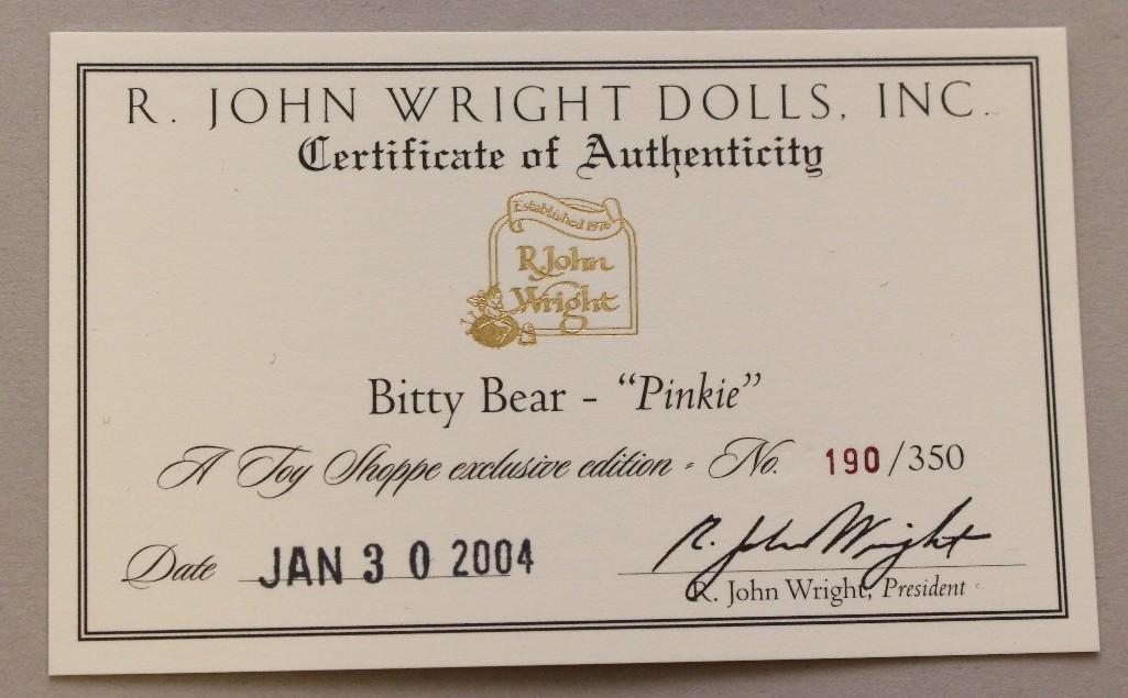 "4"" MINT IN BAG 2004 R. JOHN WRIGHT'S ""BITTY BEAR - - 2"