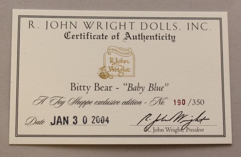 "4"" MINT IN BAG 2004 R. JOHN WRIGHT'S ""BITTY BEAR - BABY - 2"