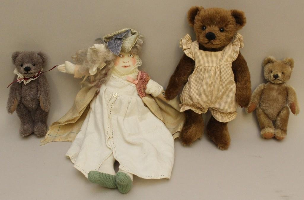 LOT: CLOTH ARTIST DOLL, STEIFF BEAR & (2) BEV WRIGHT