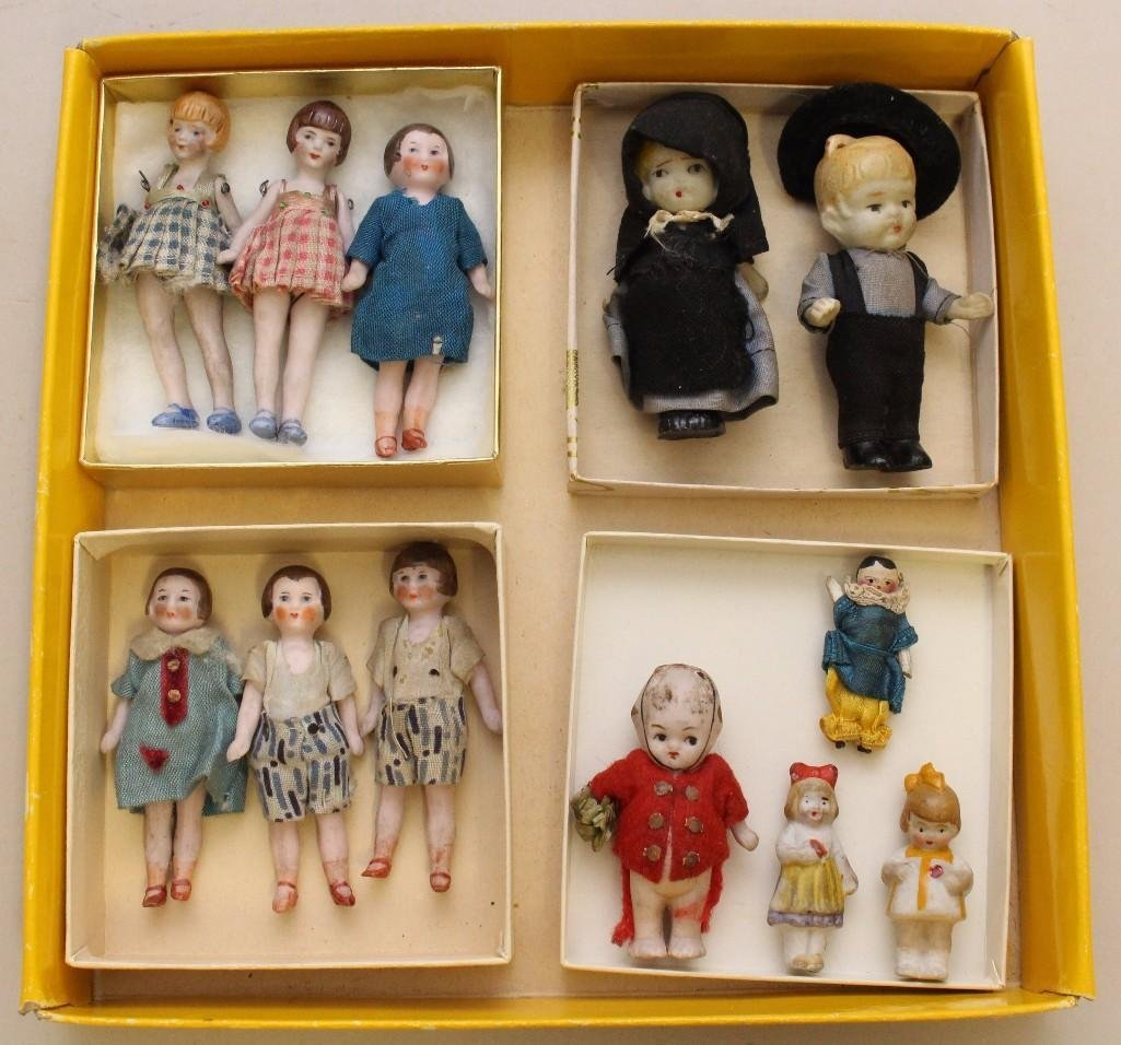 LOT OF ANTIQUE ALL BISQUE, WOODEN  MINI DOLLS.