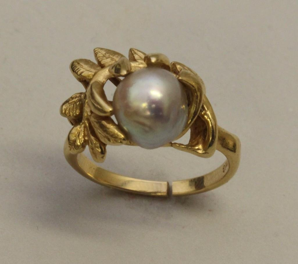 Gold Ring with Pearl - 2