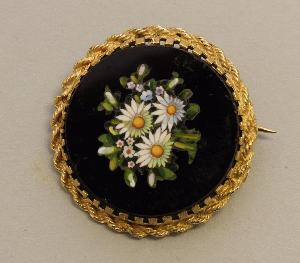 Gold Brooch with Pietra Dura