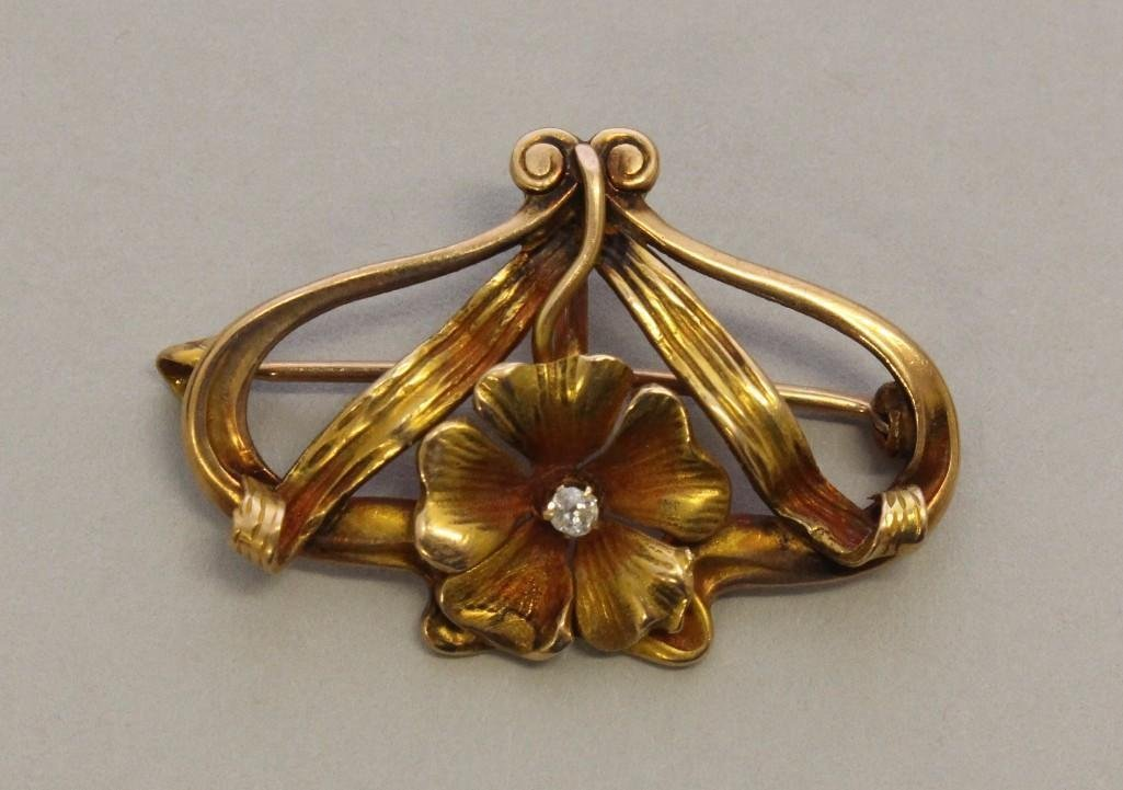 Gold Watch Pin with Diamond