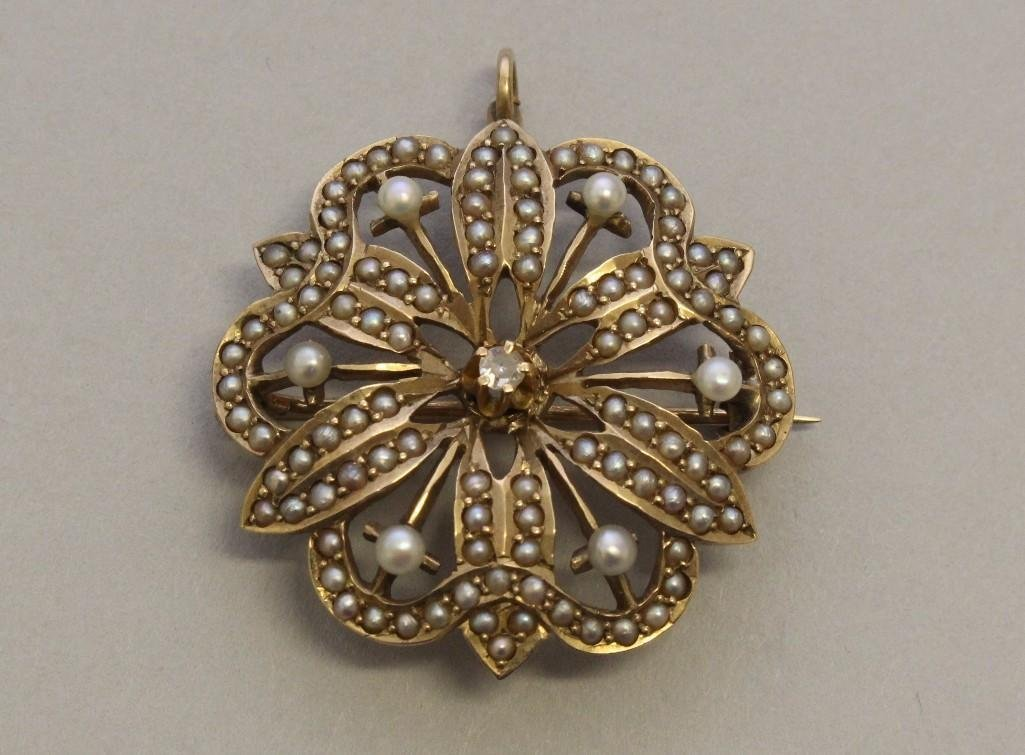 Gold Pin/Pendant with Seed Pearls and Diamond