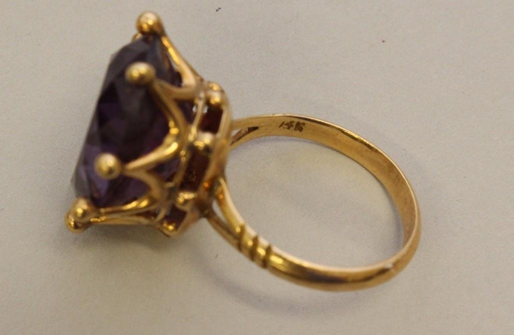 Gold Ring with Amethyst - 3