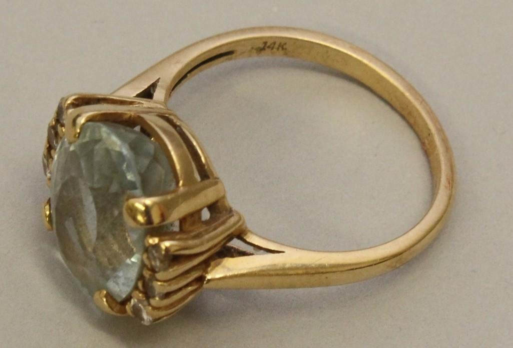 Gold Ring with Gemstone and Diamonds - 2