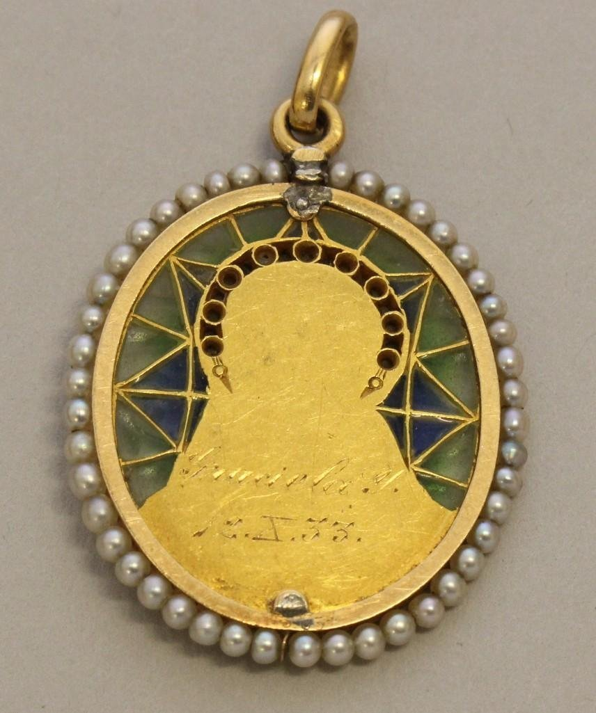 Gold Pendant with Plique-a-Jour, Seed Pearls and - 2