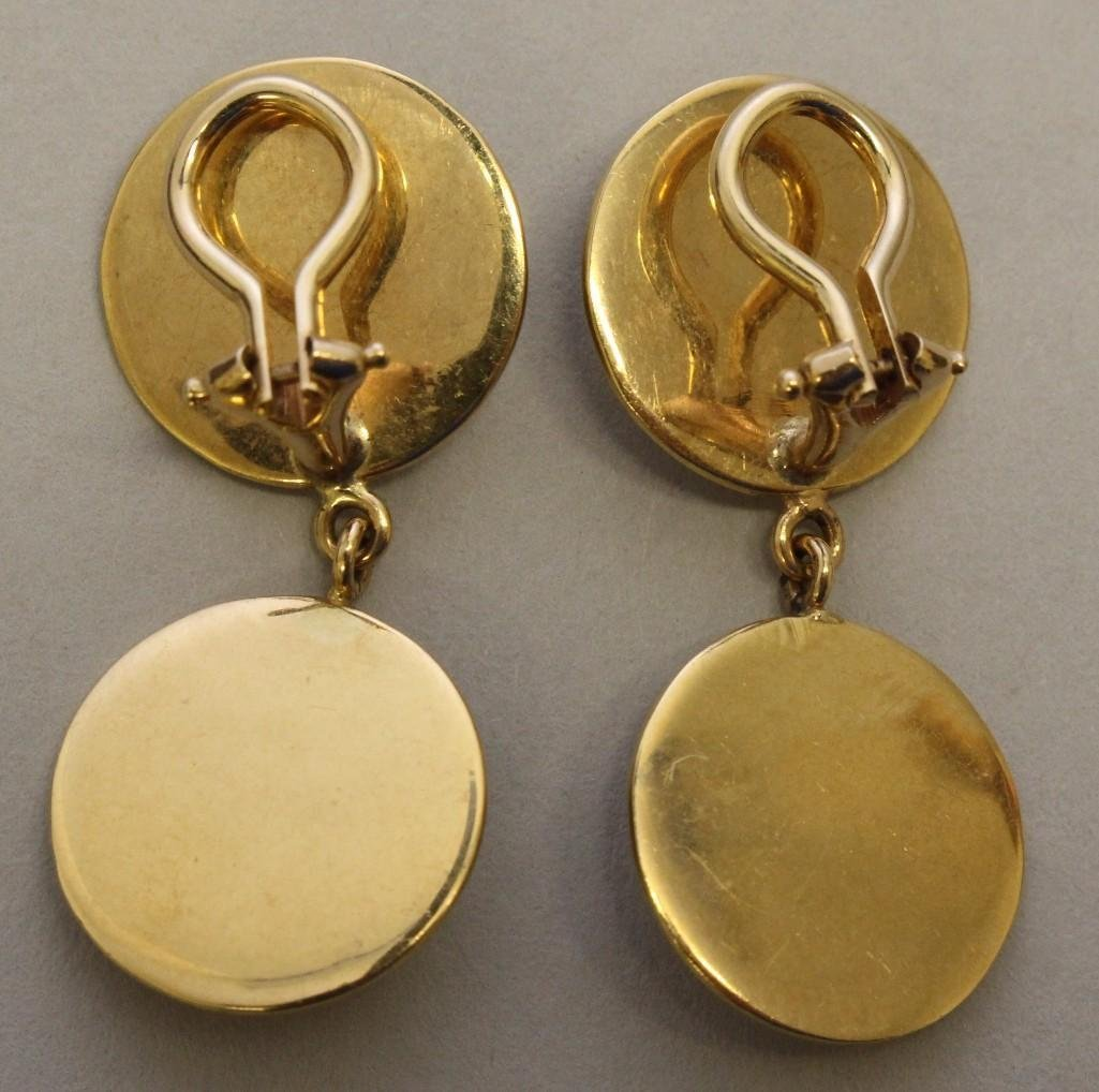 Gold Earrings with Gemstone Cabochons - 2