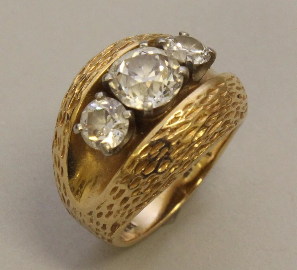 Gold Ring with Platinum and Diamonds - 2