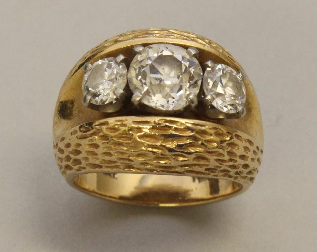 Gold Ring with Platinum and Diamonds - 3