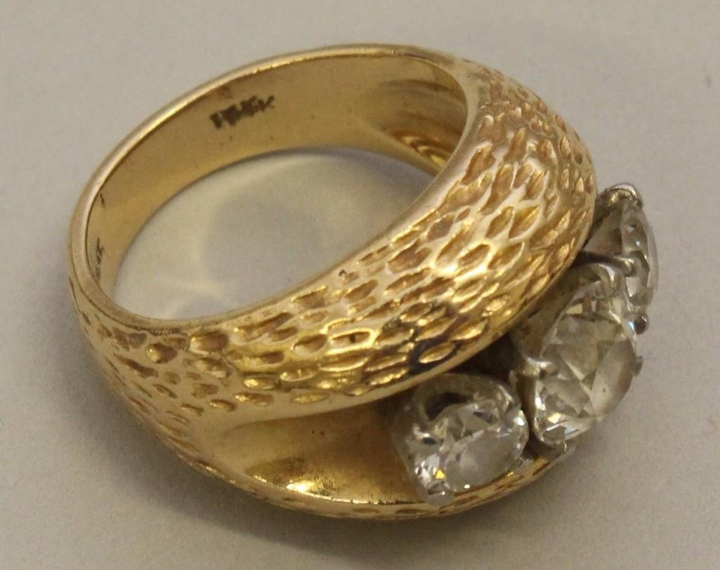 Gold Ring with Platinum and Diamonds - 4