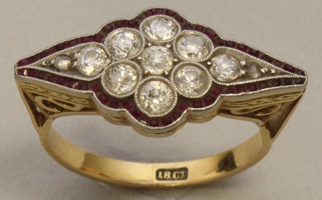 Gold Ring with Platinum, Rubies and Diamonds