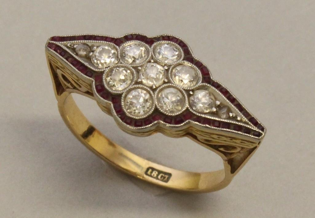 Gold Ring with Platinum, Rubies and Diamonds - 2