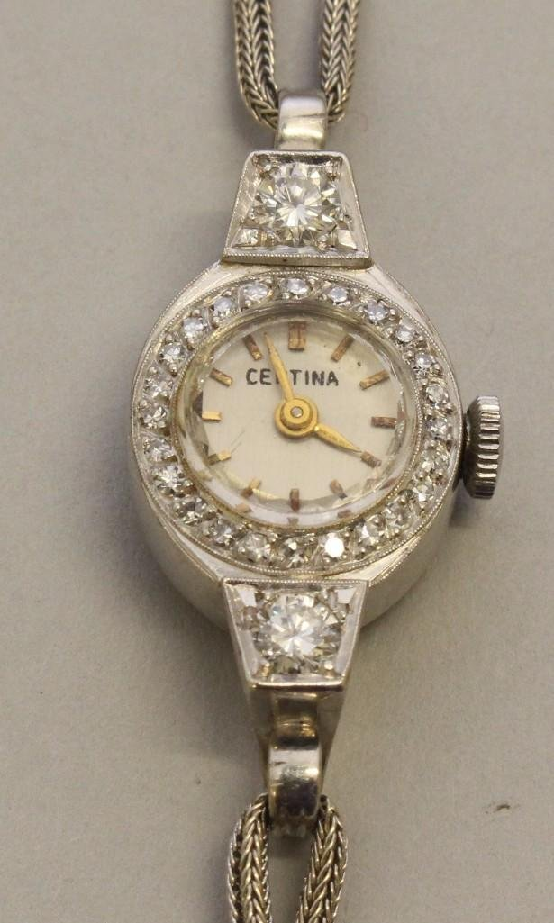 Ladies Platinum and Gold Wrist Watch with Diamonds