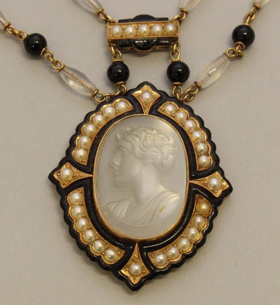 Mourning Necklace with Gold, Moonstone, Onyx and Pearl
