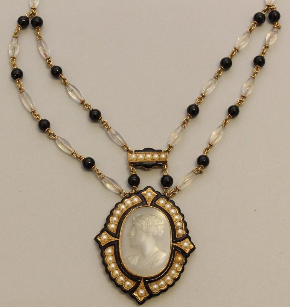 Mourning Necklace with Gold, Moonstone, Onyx and Pearl - 2
