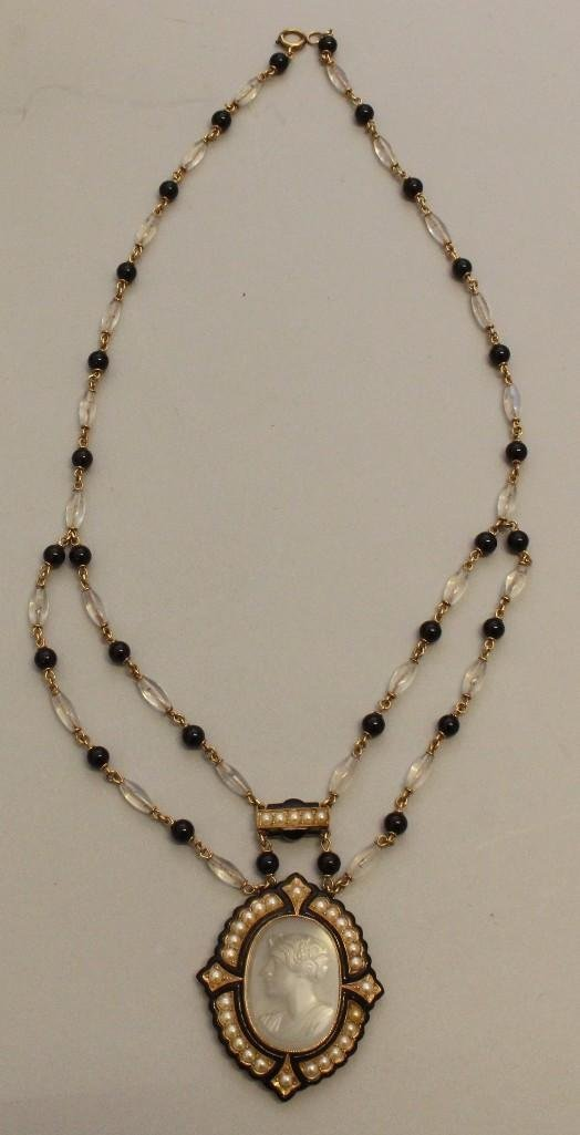 Mourning Necklace with Gold, Moonstone, Onyx and Pearl - 3