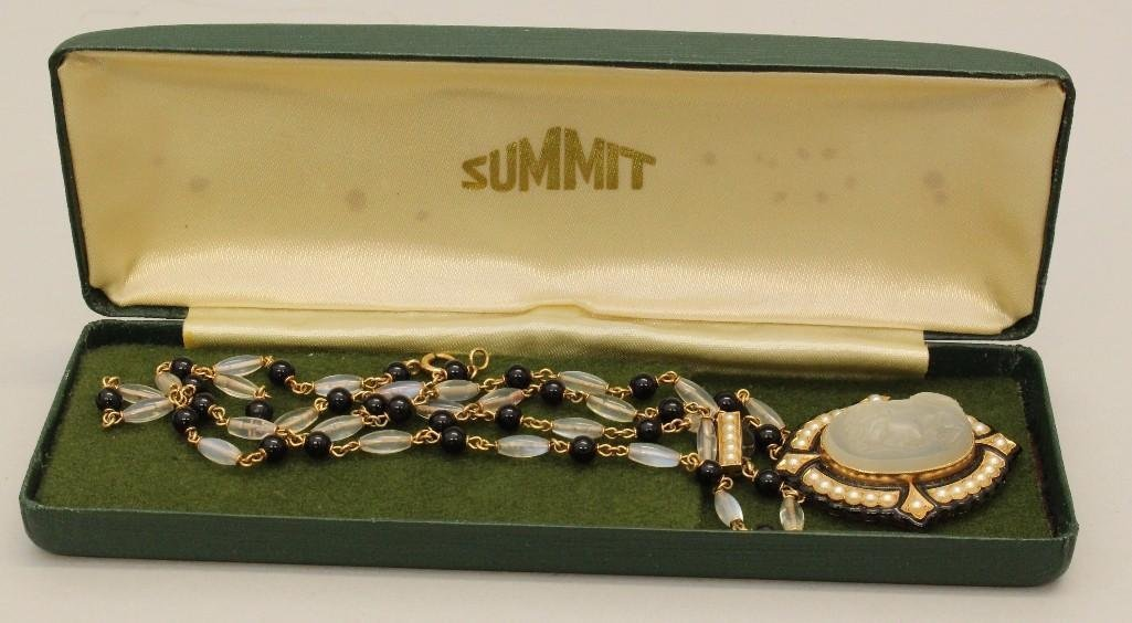 Mourning Necklace with Gold, Moonstone, Onyx and Pearl - 4