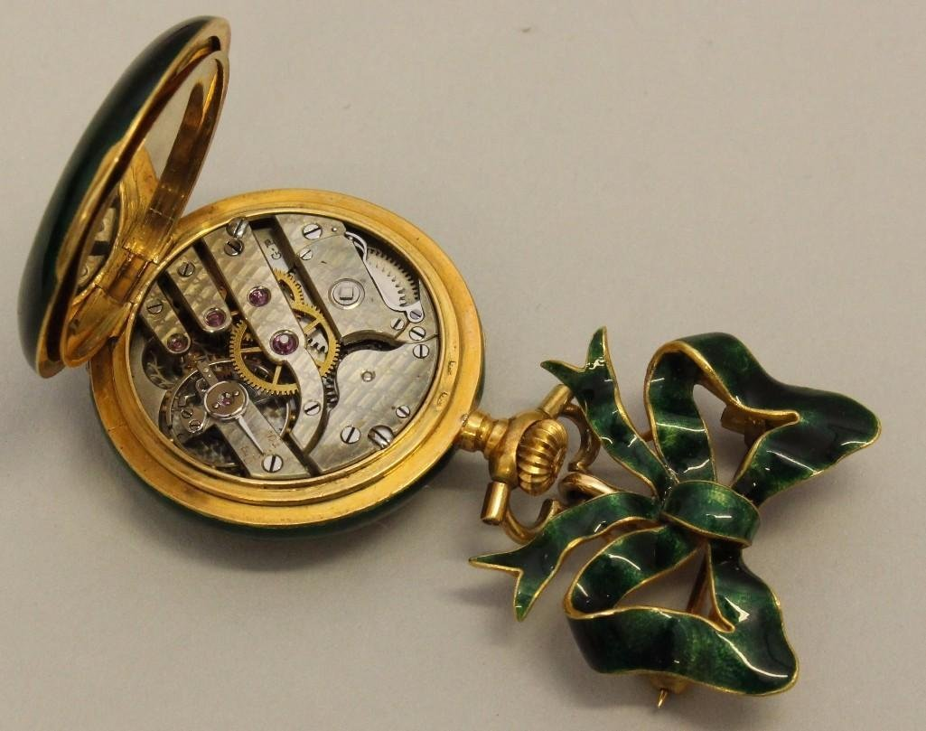 Ladies Gold Watch Pin and Pocket Watch with Enamel and - 3