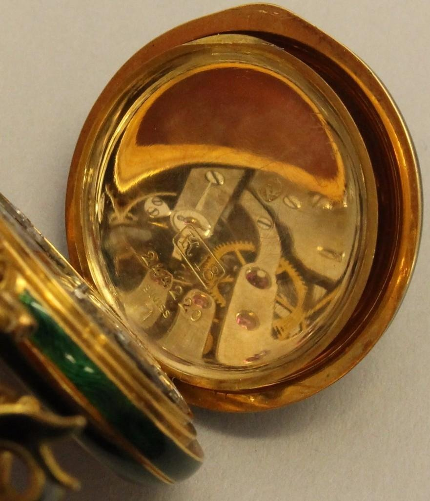 Ladies Gold Watch Pin and Pocket Watch with Enamel and - 4