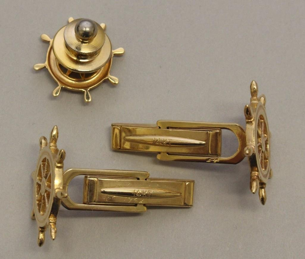 Gold Cufflinks and Tac Pin - 3
