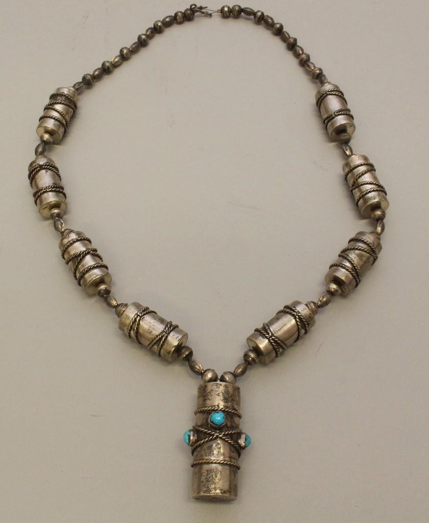 Silver Necklace with Turquoise - 2