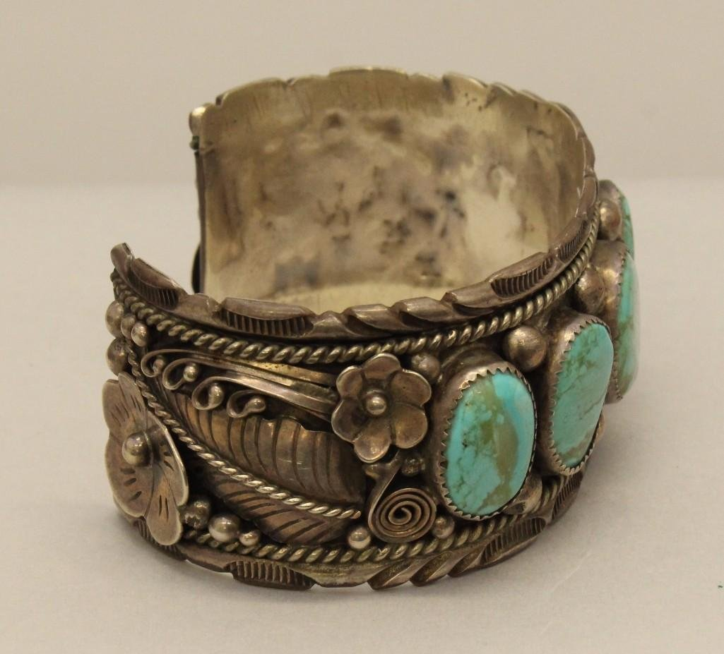 Sterling Silver Bracelet with Turquoise - 2