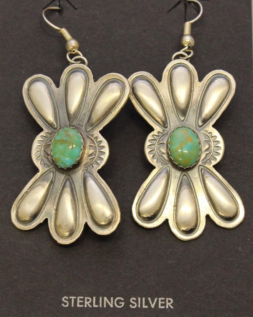 Sterling Silver Necklace and Earrings with Turquoise - 4
