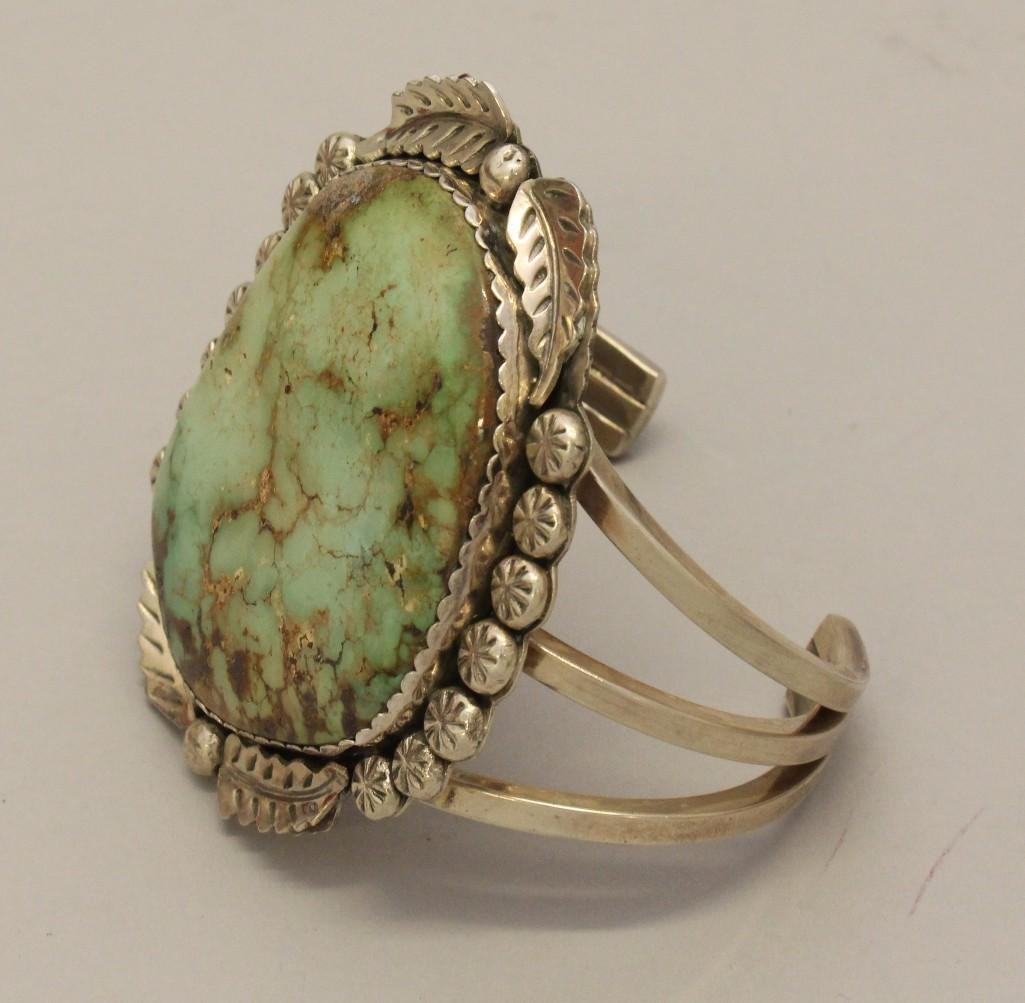 Sterling Silver Bracelet with Turquoise - 3