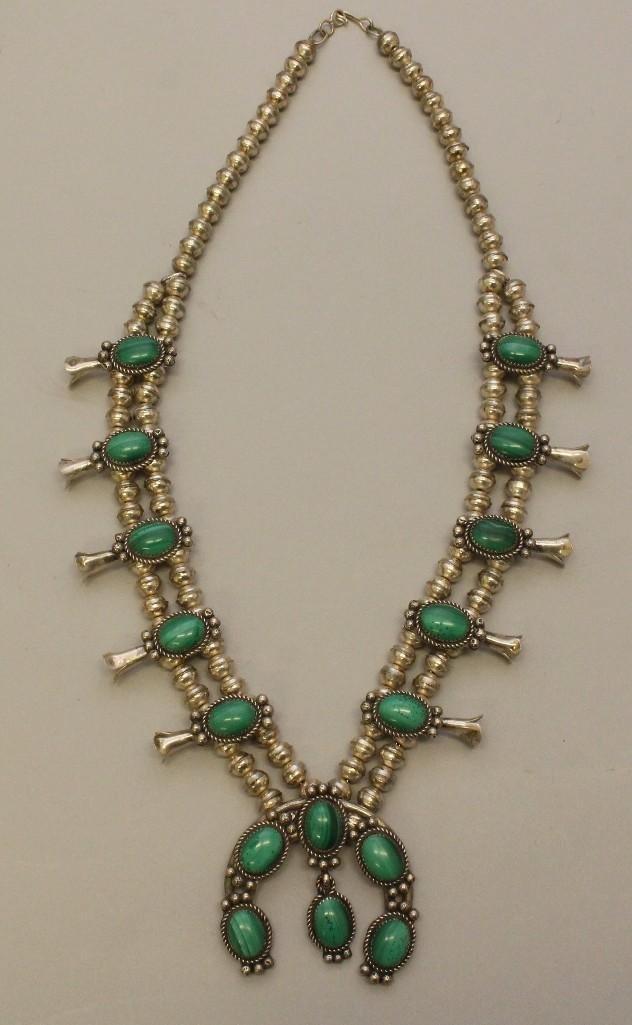 Silver Squash Blossom Necklace with Malachite