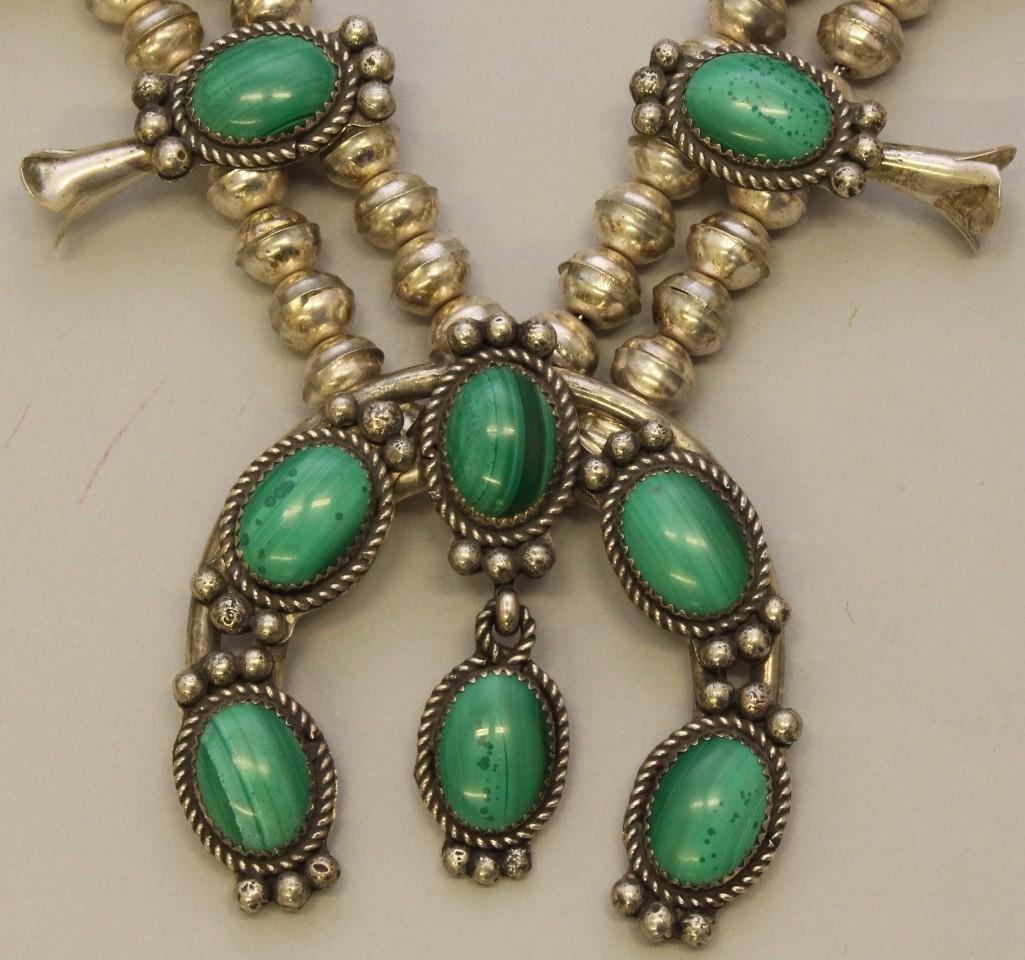 Silver Squash Blossom Necklace with Malachite - 3