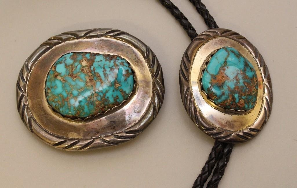 Sterling Silver Bolo Tie and Buckle with Turquoise